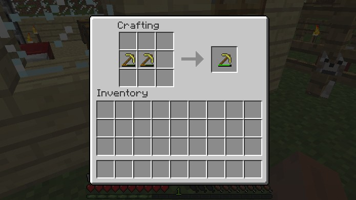 Simple repair by joining two worn items - how to show durability in Minecraft
