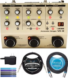 BOSS VE-8 Acoustic Singer Guitar Vocal Processor with 48V Phantom Power Bundle with AC Adapter